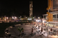 UCR Bell Tower at night
