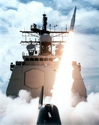 A missile departs the forward launcher of Vincennes during a 1987 exercise. This ship later shot down civilian airliner Iran Air 655.