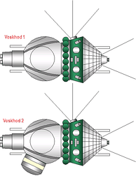 The Voskhod 1 and 2 space capsules