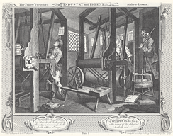 Industry and Idleness Plate 1, The Fellow 'Prentices at their Looms
