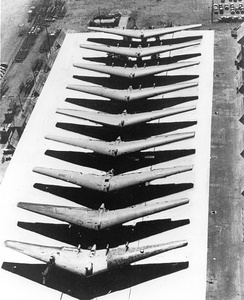 Partially completed YB-35B airframes lined up for completion or conversion to YRB-49As.