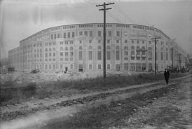 Yankee Stadium in 1923, about 2 weeks before opening.