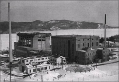 ZEEP reactor in February 1954 with NRX and NRU (under construction, in background)