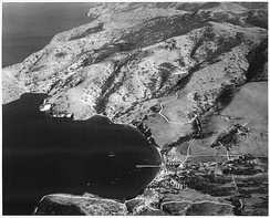 Aerial view of Naval-Coast Guard base at the Isthmus, probably taken in WW2 era. This is the future site of Two Harbors village.