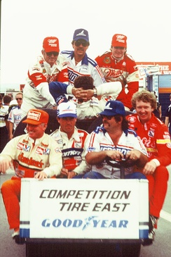 Drivers Bobby Allison (upper left), Bobby Hillin (upper right), Cale Yarborough (lower left), Terry Labonte (2nd from lower left), and Bill Elliott (lower right) in at Pocono in 1985