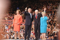 Laura and George Bush with Dick and Lynne Cheney during the convention
