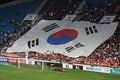 A large display of the South Korean flag during the football/soccer match against Haiti.