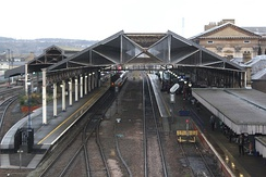 The view from the south with platforms 1 and 2 on the right
