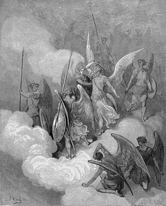 "Illustration (1866) by Gustave Doré showing the angel Abdiel striking Satan upon his ""impious crest"", as described in John Milton's Paradise Lost, Book VI"