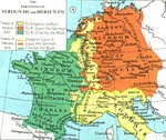 The division of the Carolingian Empire by the Treaty of Verdun in 843