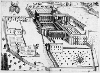 17th-century sketch of the Abbey of Saint Evroult (Monasticon Gallicanum
