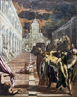 Venetian merchants with the help of two Greek monks take Mark the Evangelist's body to Venice, by Tintoretto.