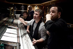 Richards (2nd from front) recording at Air Studios with director Derek Frey, Mike Higham & Ric Levy, 2011. Photograph c/o Leah Gallo