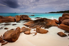 Beach of Anse Lazio on the island of Praslin