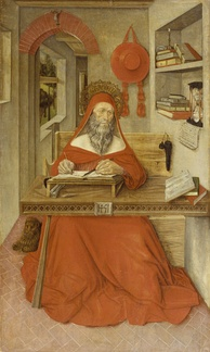 This painting by Antonio da Fabriano II, depicts Saint Jerome working in his study.  The writing implements, scrolls, and manuscripts testify to Jerome's scholarly pursuits.[21] The Walters Art Museum.