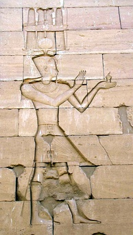 Augustus in an Egyptian-style depiction, a stone carving of the Kalabsha Temple in Nubia