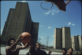 Youth play in Chicago's Stateway Gardens high-rise housing project in 1973.