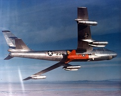 Rascal being carried by a modified B-47B