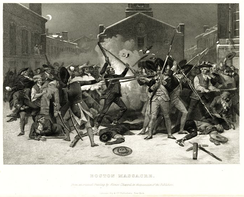 An 1868 print by Alonzo Chappel showing a more chaotic scene than most earlier representations