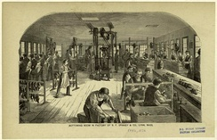By the late 19th century, the shoemaking industry had migrated to the factory and was increasingly mechanized. Pictured, the bottoming room of the B. F. Spinney & Co. factory in Lynn, Massachusetts, 1872.