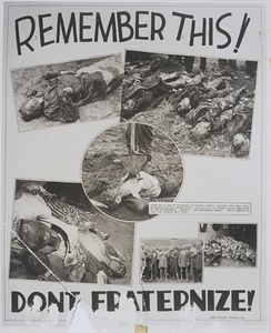 "American propaganda poster using images of concentration camp victims to warn against ""fraternization"""