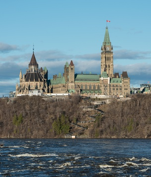 The Canadian Parliament Buildings from the Ottawa River, built between 1859 and 1876