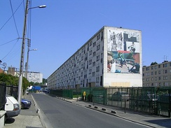Mid-rise social housing in Clichy-sous-Bois, a banlieue of Paris