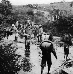 Force Publique soldiers in the Belgian Congo in 1918. At its peak, the Force Publique had around 19,000 African soldiers, led by 420 white officers.