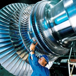 A rotor of a modern steam turbine, used in a power plant