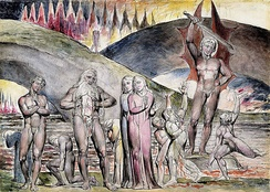 "William Blake's illustration of Inferno (19th century) shows Muhammad pulling his chest open which has been sliced by a devil to symbolize his role as a ""false prophet"".[390]"