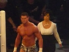 Ziggler (left), with his new look, and his manager Vickie Guerrero in April 2011