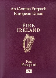 "A standardised passport design, displaying the name of the member state, the national arms and the words ""European Union"" given in their official language(s). (Irish model)"