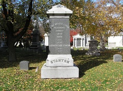 The monument for Henry Brewster Stanton and Elizabeth Cady Stanton in Woodlawn Cemetery
