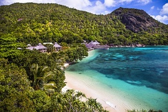Beach resort at Seychelles