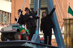 Good Charlotte in 2007 on the group's float in the Macy's Thanksgiving Day Parade