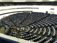 Hemicycle of European Parliament, Strasbourg, with chamber orchestra performing-2