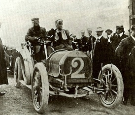 Hubert and Mme Le Blon at the 1906 Targa Florio driving a Hotchkiss 35 hp