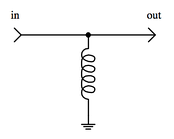 Example of signal filtering. In this configuration, the inductor decouples DC current, while allowing AC current to pass.