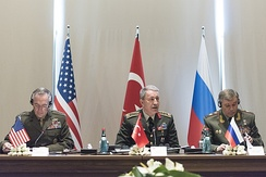 Dunford, Hulusi Akar and Valery Gerasimov are discussing their nations' operations in northern Syria, March 2017