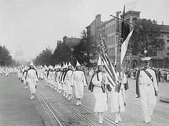Ku Klux Klan members march down Pennsylvania Avenue in Washington, D.C. in 1928.