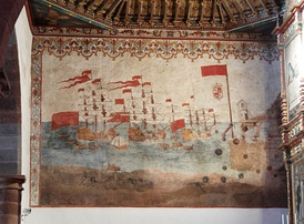Mural representing the attack of Charles Windon to San Sebastián de La Gomera (1743).