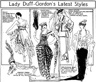 Styles of Lucy, Lady Duff-Gordon, as presented in a vaudeville circuit pantomime and sketched by Marguerite Martyn of the St. Louis Post-Dispatch in April 1918