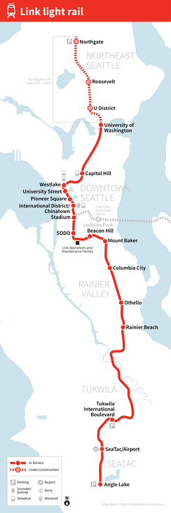 A map depicting the route of Central Link through Seattle, with stations marked and labeled. An additional dashed line extends further north on the future Northgate extension, with its stations also marked.