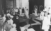 Jawaharlal Nehru being sworn in as the first prime minister of independent India by viceroy Lord Louis Mountbatten at 8:30 AM 15 August 1947.