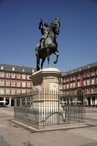Monument to Philip III of Spain, built in 1616 by Giambologna  and Pietro Tacca, Plaza Mayor of Madrid