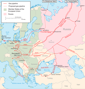 Major Russian gas pipelines to Europe in 2009
