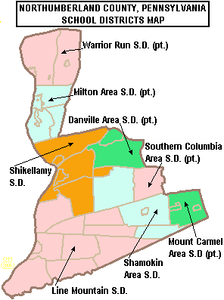 Map of Northumberland County, Pennsylvania Public School Districts