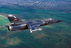 "An Ecuadoran Mirage F.1JA during the joint US/Ecuadoran exercise ""Blue Horizon '86""."