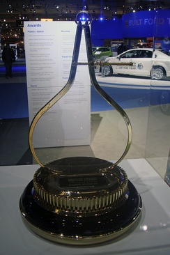 2010 Motor Trend Car of the Year trophy won by the Ford Fusion line-up exhibited at the 2010 Washington Auto Show.