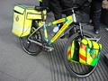In large, congested cities, paramedics may travel by bicycle, such as this one of the London Ambulance Service